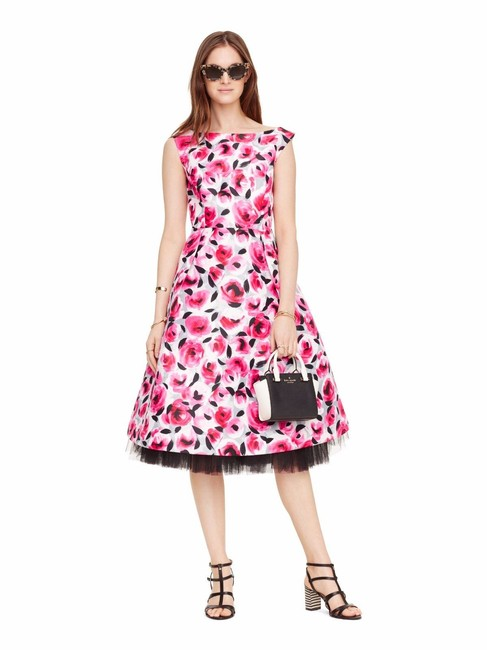 Item - Multi Color Rosebud Fit and Flare Sleeveless Mid-length Formal Dress Size 6 (S)