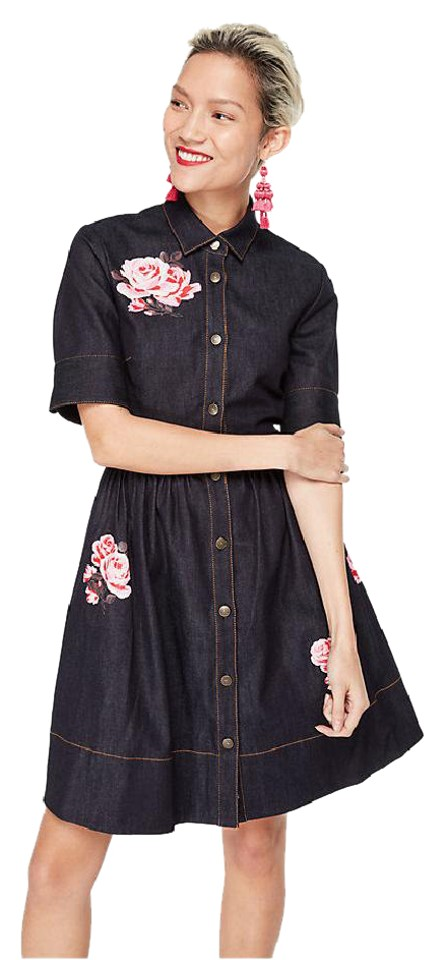 e32ec6fc05 Kate Spade Blue Rose Denim Shirtdress Mid-length Work Office Dress ...
