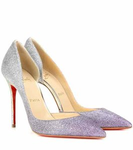Christian Louboutin Metallic Glitter Pointed Toe Ombre Iriza Silver Pumps