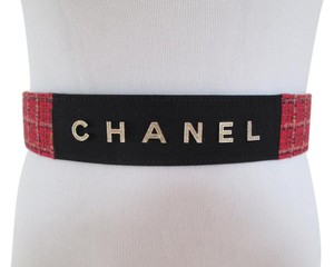Chanel Chanel Red Tweed Black Grosgrain Gold Letter Logo Tie Sash Belt