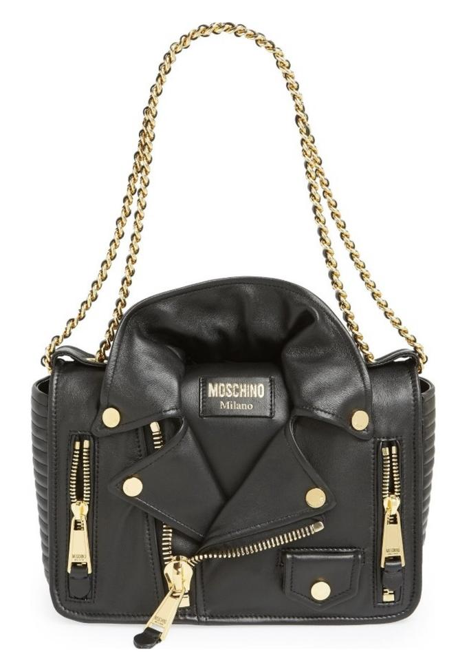 e4a77deb7b Moschino Shoulder Biker Jacket Black Noir Leather Cross Body Bag ...