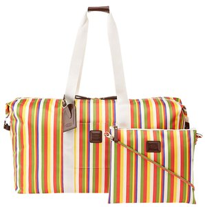 Bric's X-bag Holdall Leather Handle Water-resistant Red Stripes Travel Bag