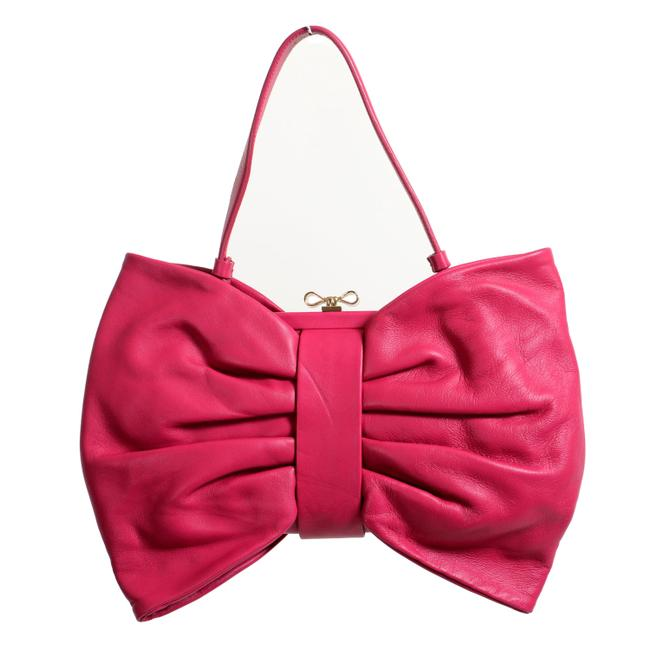 RED Valentino Women's Bow Handbag Purplish Pink Leather Shoulder Bag RED Valentino Women's Bow Handbag Purplish Pink Leather Shoulder Bag Image 1