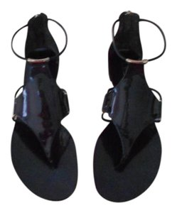 Casadei Chic Design Patent Leather Back Zip Made In Italy Blue Sandals