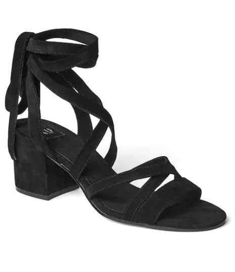 Gap Suede Lace-up Black Sandals