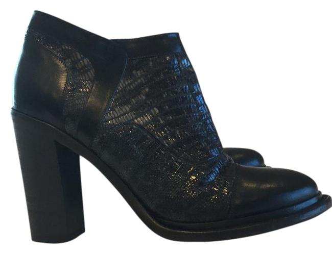 Item - Black and Black and Cream Snakeskin Collection Leather Boots/Booties Size US 9.5 Regular (M, B)