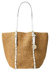 Michael Kors Crossbody Applique Leather Tassel Tote in Natural optic white