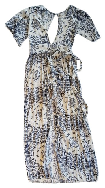 Item - White and Blue Paisley Skirted Romper/Jumpsuit