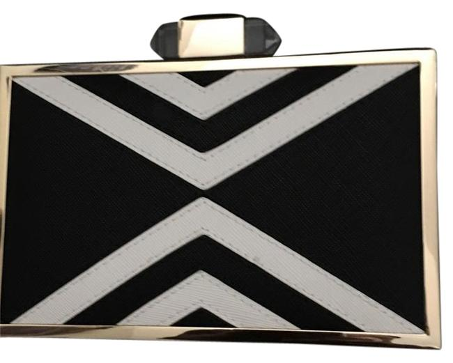 Kate Landry Black and White Faux Leather Clutch Kate Landry Black and White Faux Leather Clutch Image 1