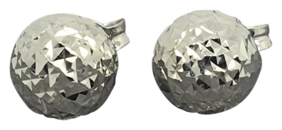 18k White Gold Diamond Ball Stud 8mm Ask A Question Earrings 57 Off Retail