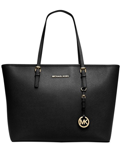 michael kors jet set travel top zip tote in black. Black Bedroom Furniture Sets. Home Design Ideas