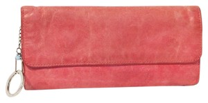 Hobo International red leather classic the original trifold wallet clutch