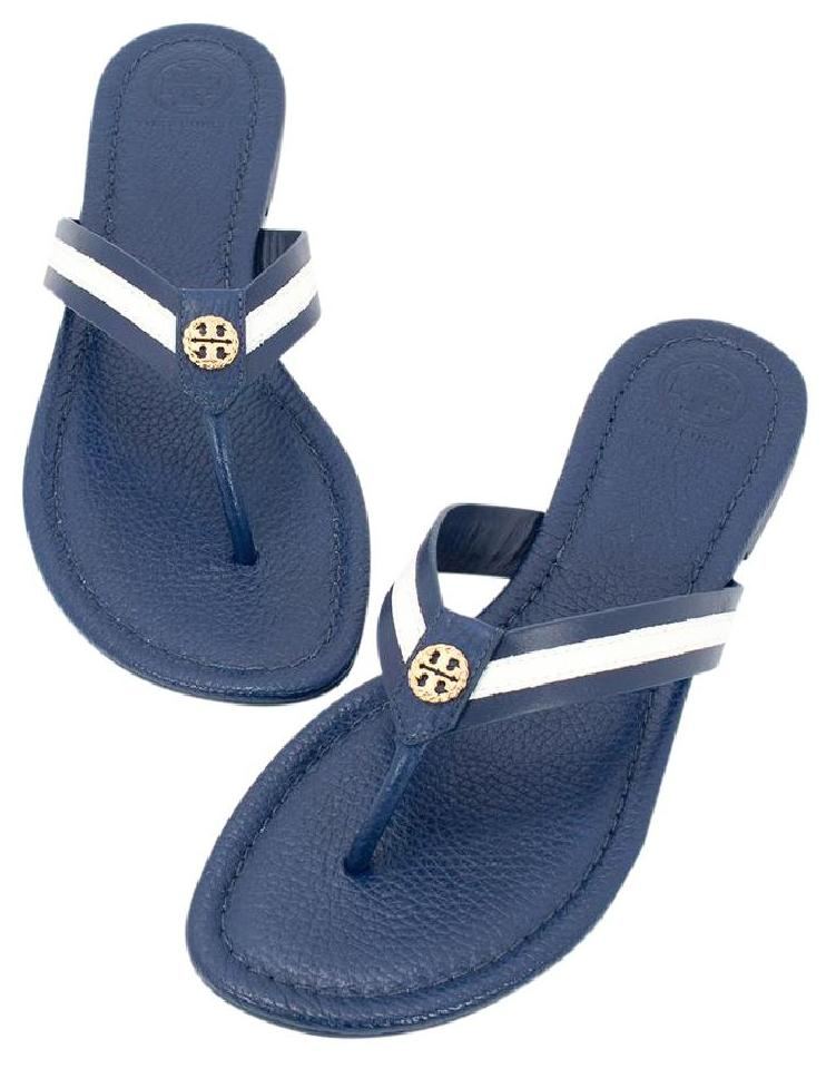 4b2d6f73793 Tory Burch Navy Sea White Maritime Thong Sandals Size US 8.5 Regular ...