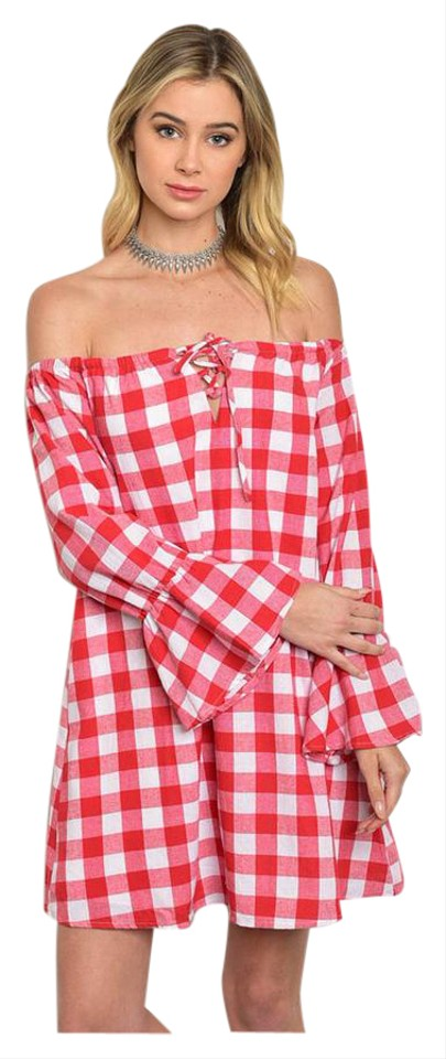 8db59809b25b Other short dress Red and White Checkered Bell Sleeve Off Shoulder Poplin  Lace Up on Tradesy ...