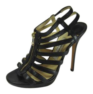 Jimmy Choo Gleny's Multistrap Strappy Caged BLACK Boots
