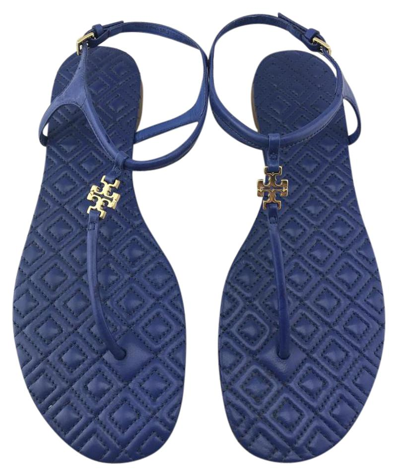 e5e587b4cfc76 Tory Burch Blue Marion  marion  Quilted Sandals Size US 7.5 Regular ...