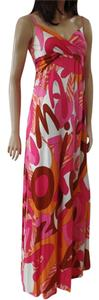 NWT pink red printed Maxi Dress by FLORA KUNG Silk Exclusive Jersey Knit Bohemian