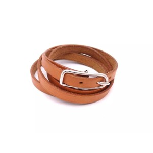 Hermès Hermes Brown Leather Buckle Bracelet