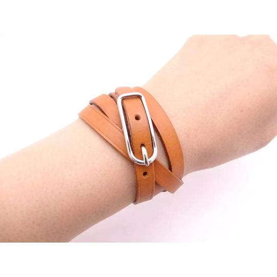 Hermès Hermes Brown Leather Buckle Bracelet Image 1