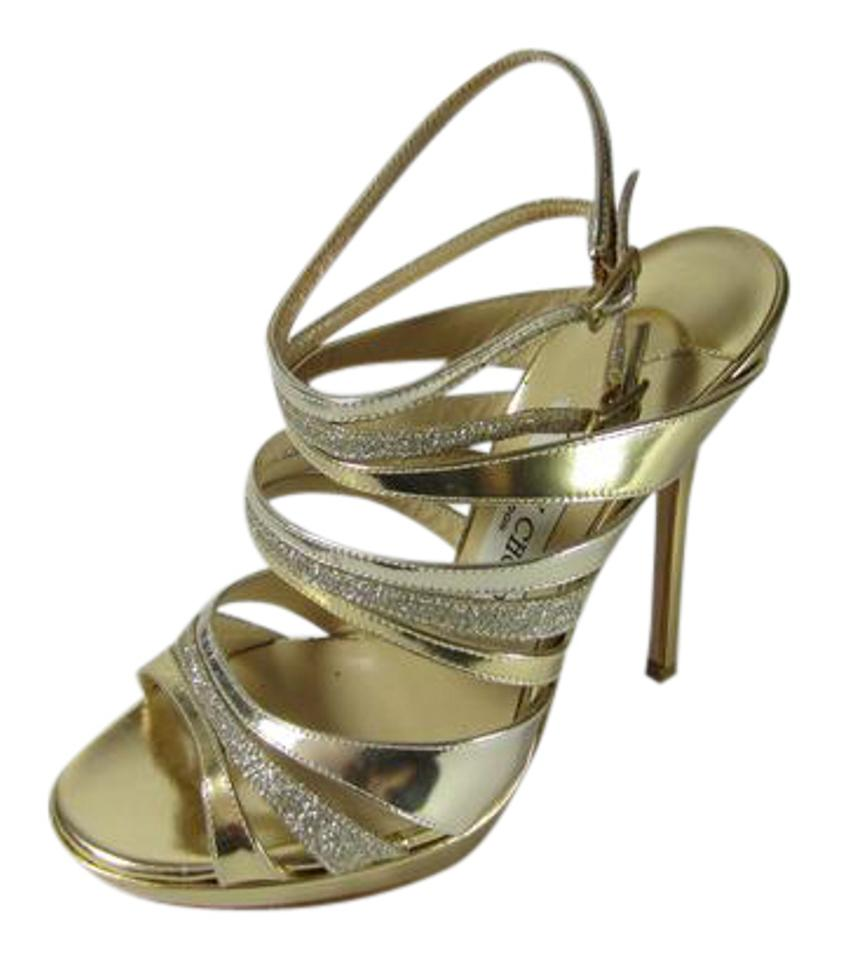 1b847230ad97 Jimmy Choo Gold and Silver Multistrap Caged Stiletto Sandals Size US ...