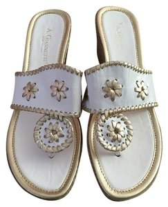 A. Giannetti Leather Wedge Heels Size 8.5 8.5 White, Gold Sandals