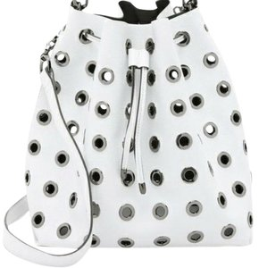 deux lux Grommets Faux Leather Perforated Convertible Bucket Shoulder Bag