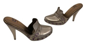 Cole Haan Tiny Slip On Platinum leather lining leather NikeLab soles purple stones and metal studs platform closed Mules