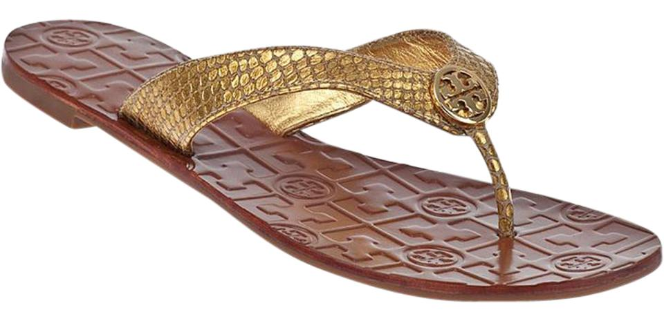 5c208b6b632 Tory Burch Gold New Thora Logo Flat Thong Sandals. Size  US 5 Regular ...