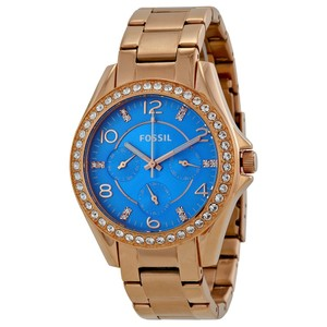 Fossil FOSSIL Riley Multi-Function Blue Dial Rose Gold-tone Ladies Watch ES35