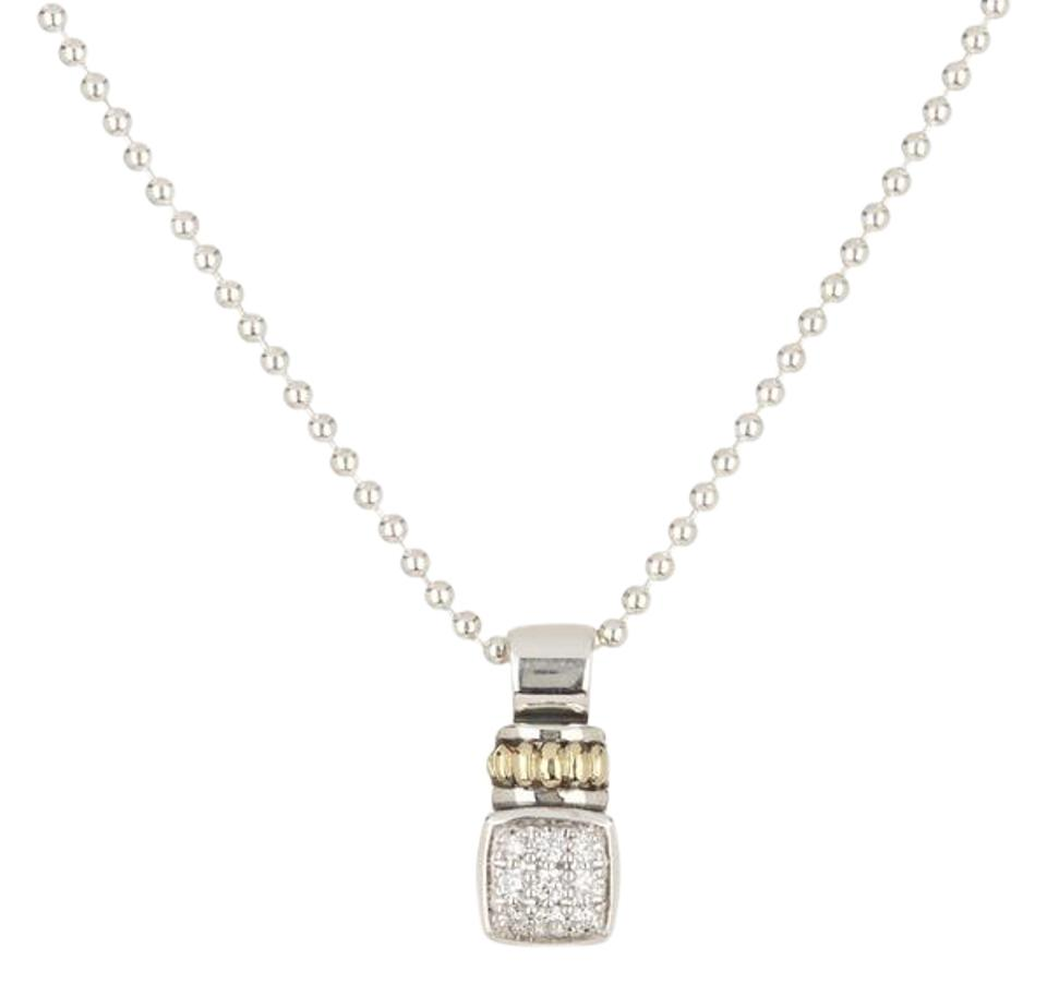 Lagos silver gold sterling 18k diamond square pendant necklace tradesy lagos sterling silver 18k gold diamond square pendant necklace mozeypictures Images