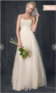 David's Bridal Ivory/Champange Polyester with Tulle Wg3586 Casual Wedding Dress Size 4 (S)
