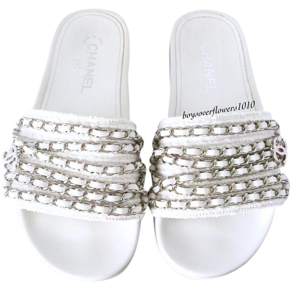 cee4ea42631c58 Chanel White Tweed W Leather   Silver Chain Slides Mules Sandals ...