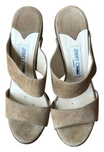 Jimmy Choo Studded Suede Tan Sandals