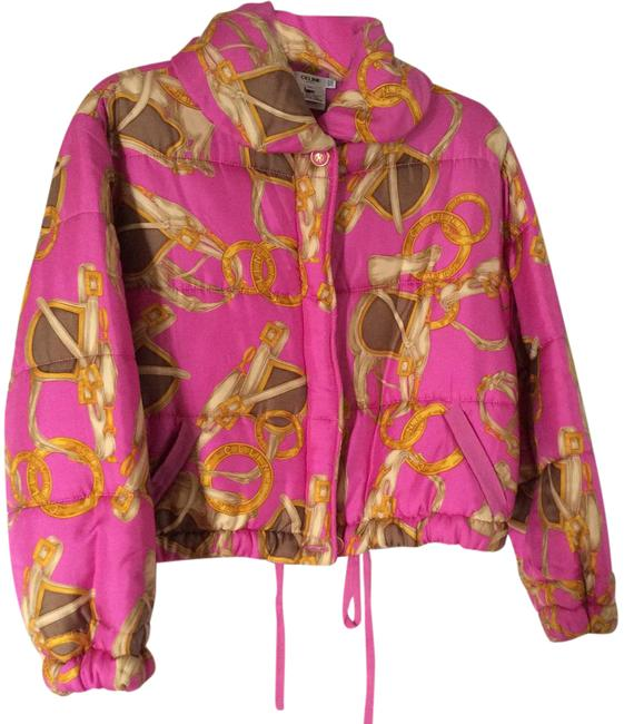 Item - Pink Scarf Print Quilted Jacket Size 10 (M)