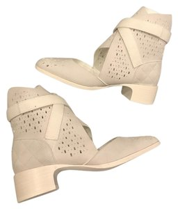 Chanel Suede Perforated Ankle White Boots