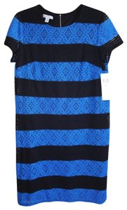 London Times short dress NWT_Blue + Black Boat Neck Body Lined Sleeves Unlined Exposed Zip Short Sleeves on Tradesy