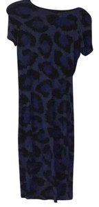 Topshop Blue and Black leopard Bodycon dress