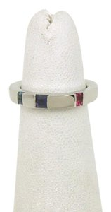 Asprey Multi-Color Gemstone 18k White Gold Stack Band Ring