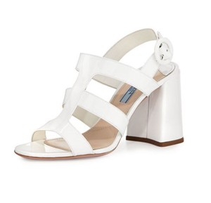 Prada Patent Caged White Sandals