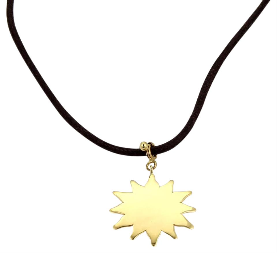 Pasquale bruni yellow gold black cord 16694 le monde 18k sun pendant pasquale bruni 16694 pasquale bruni le monde 18k gold sun pendant cord necklace aloadofball Choice Image