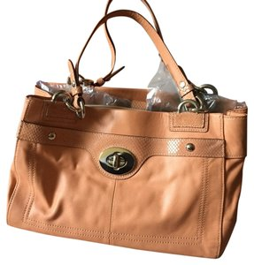 Coach Leather Snakeskin Satchel in Coral