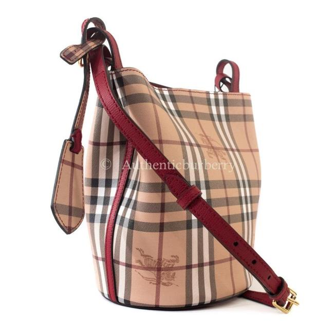 Item - Bucket And Haymarket Check Poppy Red Leather Cross Body Bag