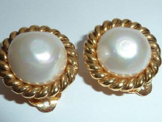 Chanel CHANEL Gold Plated CC Imitation Pearl Vintage Earrings Image 1
