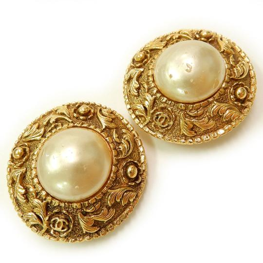Chanel CHANEL Gold Plated CC Imitation Pearl Vintage Earrings Image 3