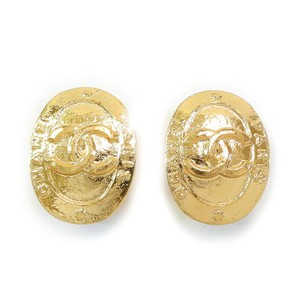 Chanel CHANEL Gold Plated CC Logos Vintage Clip Earrings