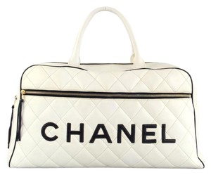 Chanel Vintage Duffle Large Quilted White Travel Bag