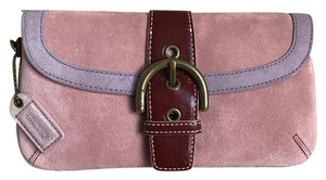 Coach Suede Buckle Signature Purple Red Wristlet in Pink