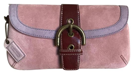 Coach Suede Buckle Signature Purple Red Wristlet in Pink Image 0