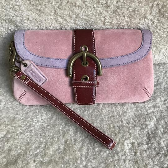 Coach Suede Buckle Signature Purple Red Wristlet in Pink Image 1