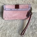 Coach Suede Buckle Signature Purple Red Wristlet in Pink Image 2